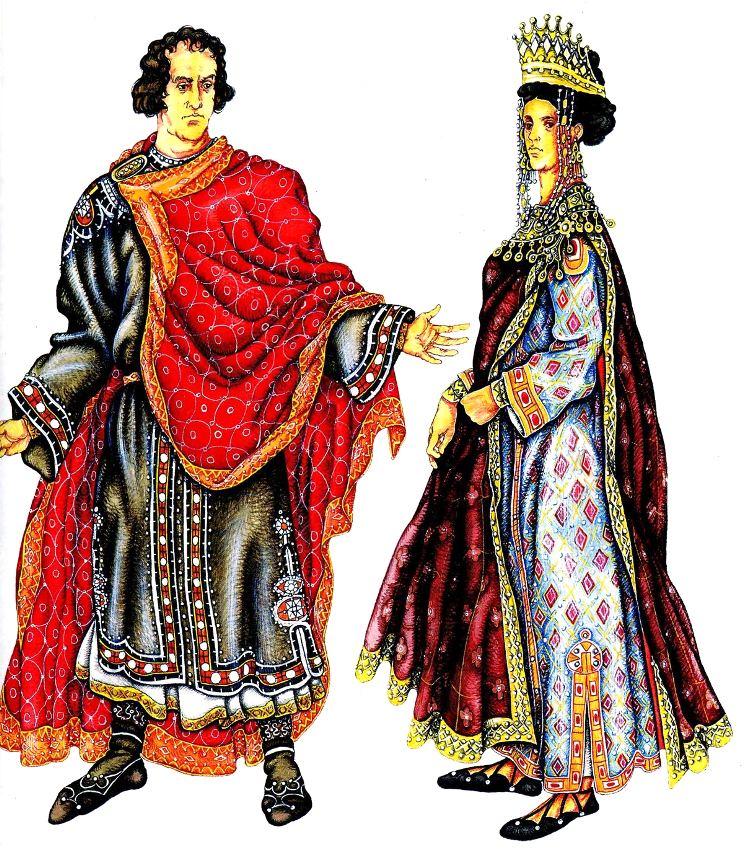 мужской и женский византийский костюм