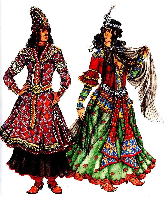 Женский и мужской персидский костюм в древности