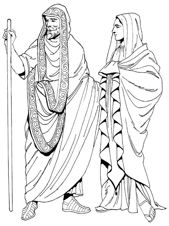Греческий мужской и женский гиматий