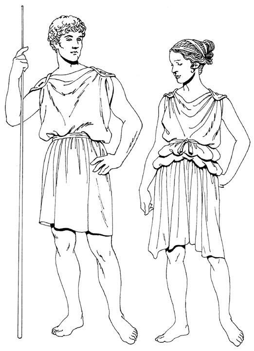 Греческий мужской и женский хитон