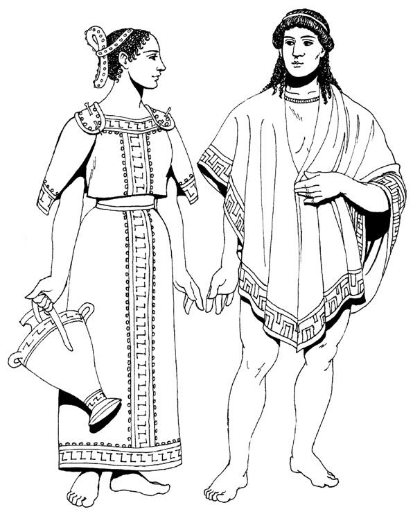 Женский и мужской греческий костюм
