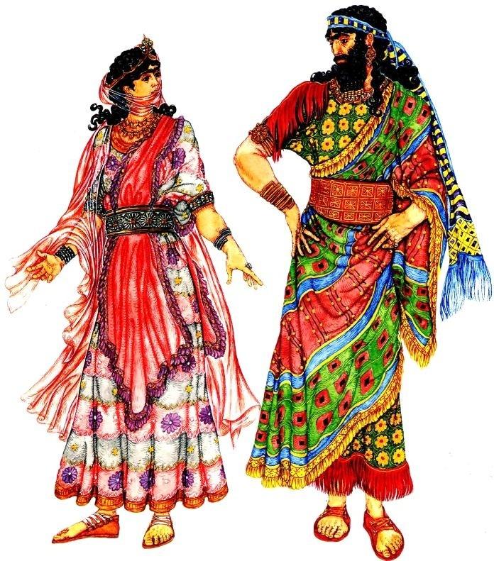 древние ассирийцы. костюмы знатных людей