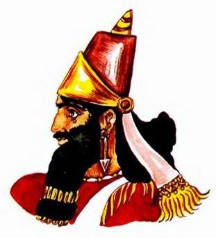 царская тиара и прическая ассирийского царя