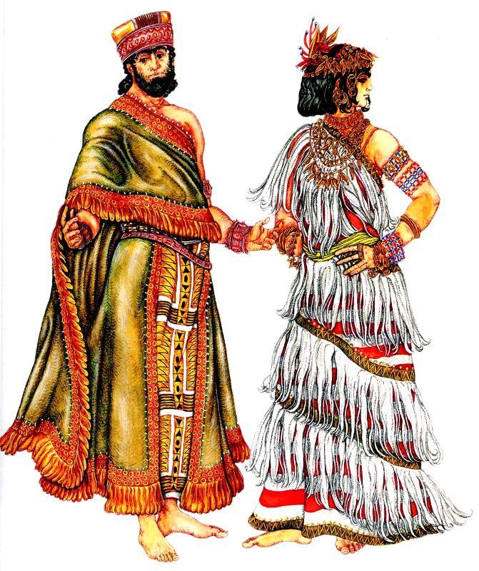 Костюм шумерского царя и шумерская женщина