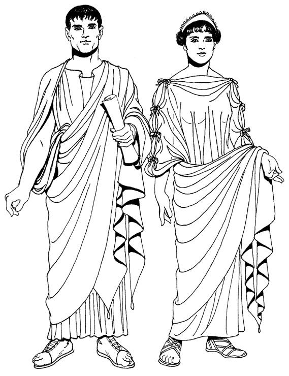 Мужской и женский костюм древнего