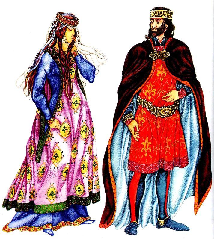 костюм Средних веков. Знатная женщина и король