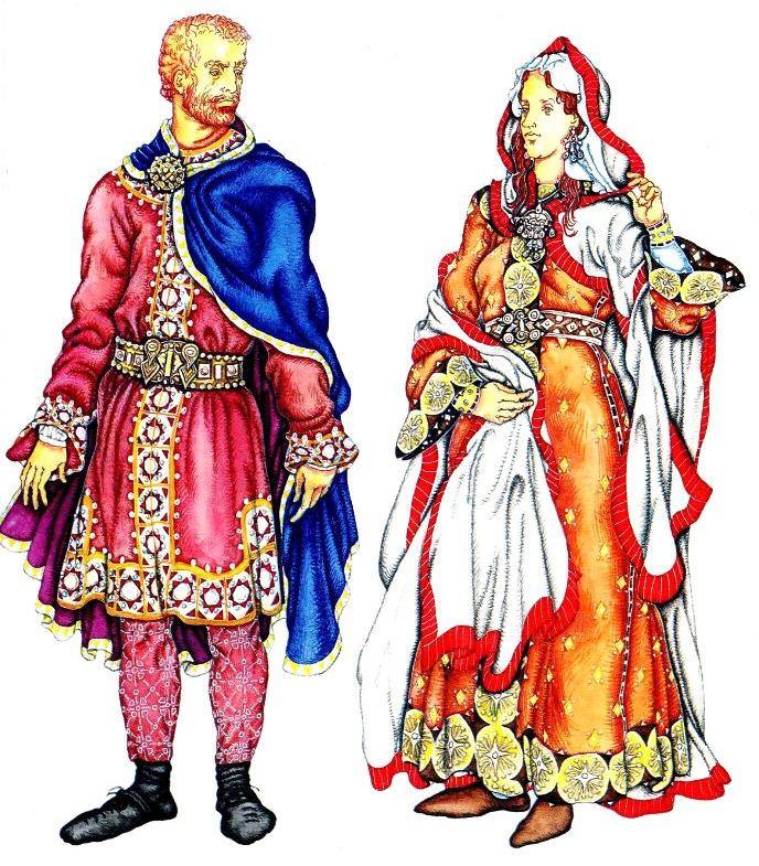 мужской и женский костюм Средневековья