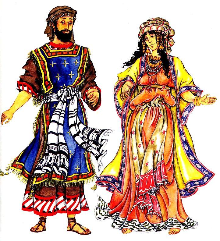 мужской и женский еврейский костюм в древности