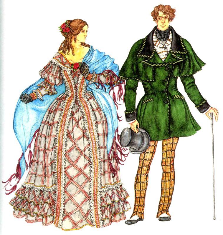 женский и мужской костюм второй половины 19 века